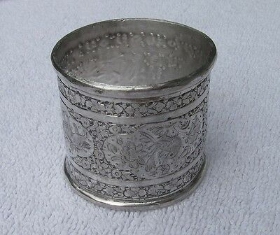 Superb Vintage PERSIAN Heavy Silver NAPKIN RING-Chased ANIMALS Design-NR