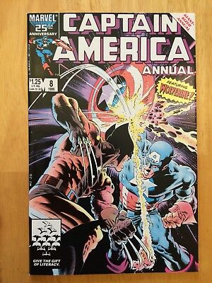 Captain America Annual #8 NM (9.4) CLASSIC KEY ISSUE! (1986) Wolverine Near Mint