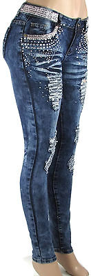 Skinny Jeans Embellished Rhinestone Stretch Destroyed Ripped N2212