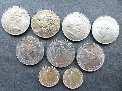 Great Britain 9 Coin Lot UK 5 Shillings Pounds Churchill Crowns Queen Elizabeth