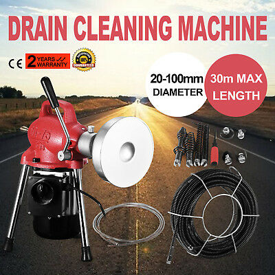 20-100mm Dia Sectional Pipe Drain Cleaning Machine W/20m*16mm & 5m*8mm Cable