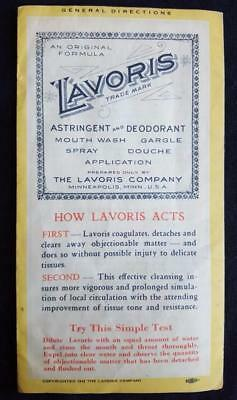 1942 Lavoris Astringent Mouth Wash 3-Panel Illustrated Advertising Brochure