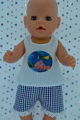 "Play n Wear Doll Clothes To Fit 17"" Baby Born GINGHAM PANTS~WHITE TOP"