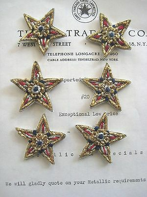 Vintage Red/Blue Silver/Gold Metallic Bullion Stars Applique Patriotic 6 pcs