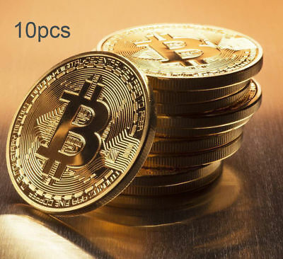 10xGold Bitcoin Commemorative Round Collectors Coin Bit Coin is Gold Plated Coin