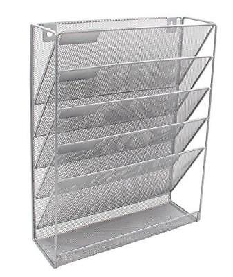 EasyPAG Mesh Wall File Holder Organizer Mounted Literature Rack 5 Compartments