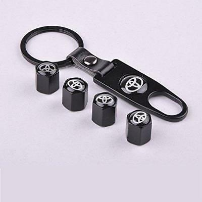 Set of 4 Car Tire Valve Stem Air Caps Cover + Keychain For Toyota Black