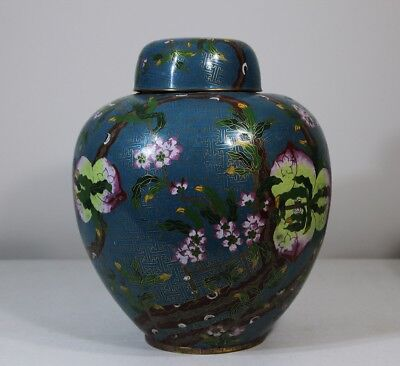 Large pair of antique cloisonne Chinese peach jars