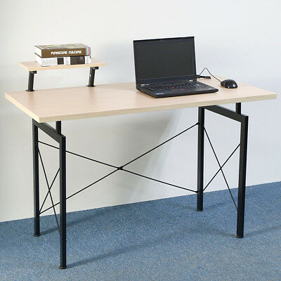 Concise Wooden Computer Desk with Top Shelf Home Office Furniture Beech