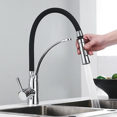 AU 360° Rotation Swivel Sink Mixer Taps Black Chrome Pull Out Brass Tap Kitchen