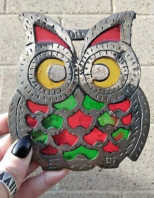 Vintage 70s OWL Trivet RETRO Hot Plate Cast Iron Colored Glass WISE OLD OWL L56