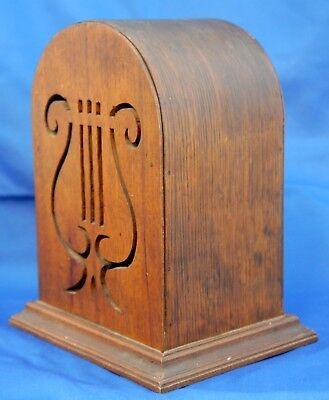 Antique Wood Music Box Lyre Cutout Cabinet / Stand w Elaborate Mechanism. 19th C