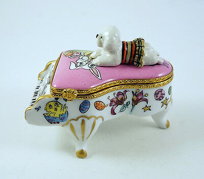 New French Limoges Trinket Box Bichon Frise Dog On Grand Piano W/ Easter Bunny