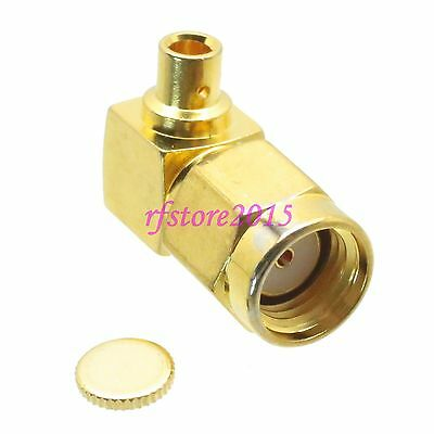 """1pce Connector RP-SMA male jack solder RG405 0.086"""" cable RF COAXIAL Right angle"""