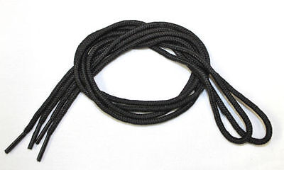 Black Round Shoe Laces. 2.5 mm thick x 69 cm (27 inches) length. One pair.
