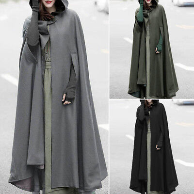 ZANZEA 10-24 Women Long Maxi Cape Poncho Jacket Coat Outerwear Plus Size Cloak