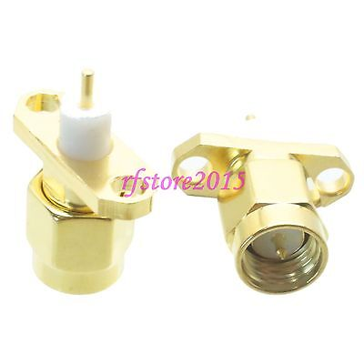 1pce Connector SMA male 2-holes Flange solder deck mount straight RF COAXIAL