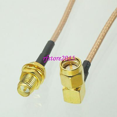 Cable RG316 6inch RP-SMA female bulkhead to SMA male plug 90° RF Pigtail Jumper
