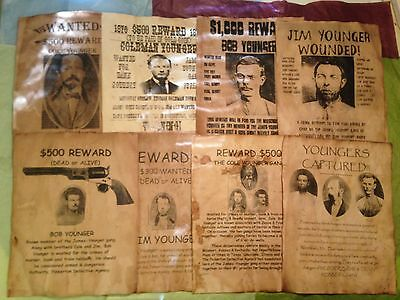 Wanted Posters Younger Gang Western Robbery Old West James Bank Train Outlaw Law