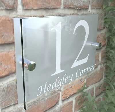 Contemporary HOUSE SIGN / PLAQUE / DOOR / NUMBER / GLASS EFFECT PRESA5-13W-S