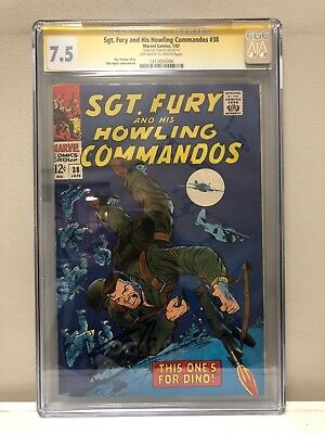 Sgt. Fury And His Howling Commandos #38 Cgc Ss 7.5 Vf- Signed By Stan Lee!