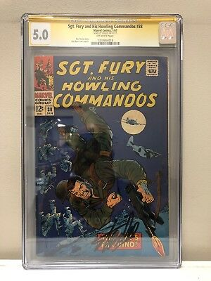 Sgt. Fury And His Howling Commandos #38 Cgc Ss 5.0 Vg/fn Signed By Stan Lee!