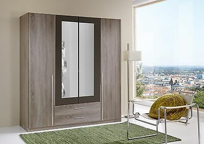 Qmax 'Skate' 4-Door Wardrobe. German Made Bedroom Furniture. Dark Oak & Lava.