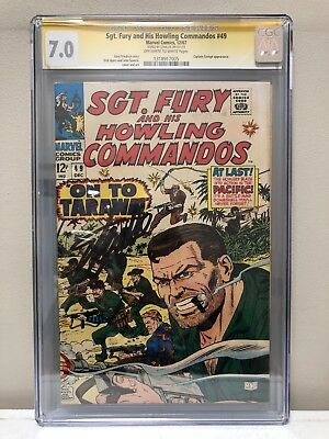 Sgt. Fury And His Howling Commandos #49 Cgc Ss 7.0 Fn/vf Signed By Stan Lee!