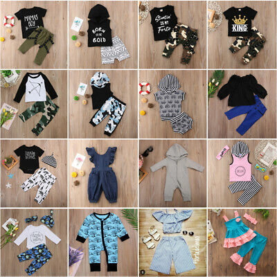 Newborn Infant Baby Boy Girl Kids Jumpsuit T-shirt + Pants Cotton Clothes Outfit