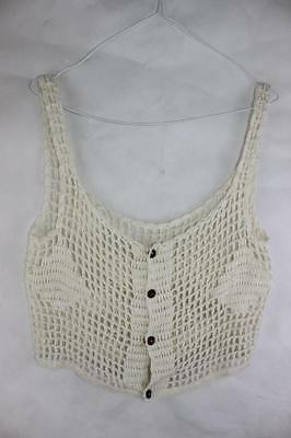 Vintage 70s Boho 90s Grunge COCONUT BUTTONS Embroidered CROCHET CHIC TOP
