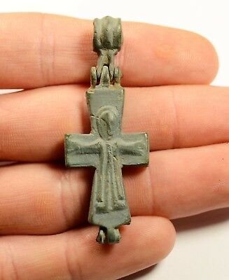 Ancient Byzantine Bronze Cross - Encolpion- Religious Artifact - Image Of Jesus