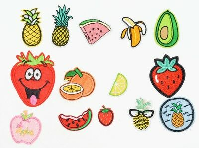 Fun FRUIT & VEG Watermelon Strawberry Embroidered Iron Sew On Patches Badges B17