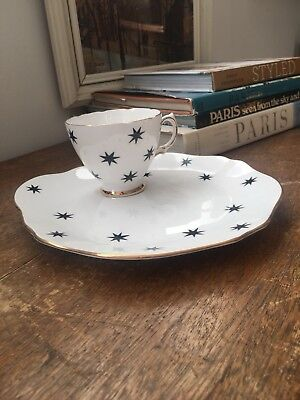 Royal Vale Black Star Cup and Saucer Tennis Plate Vintage Teaset