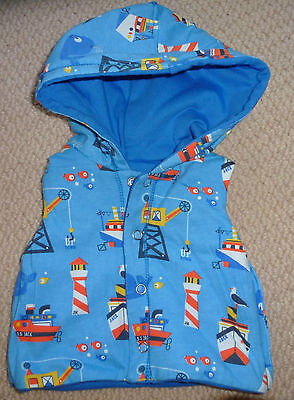 NWT Jack & Milly Baby Boys Nautical Boats Fish Reversible Hooded Vest Size 000
