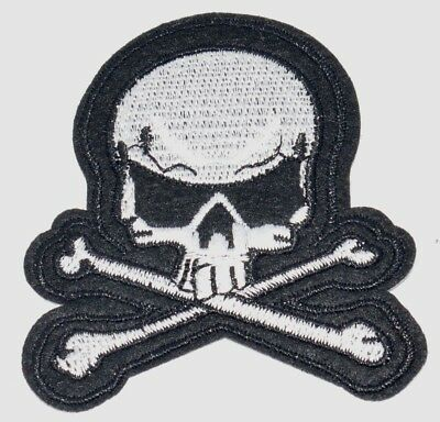 SKULL & CROSSBONES Pirate Punk Goth Embroidered Iron Sew On Patches Badges B17