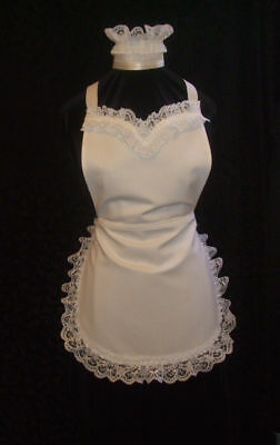 VICTORIAN STYLE FRENCH MAID WHITE COTTON & LACE APRON & HAT * Made in England !!