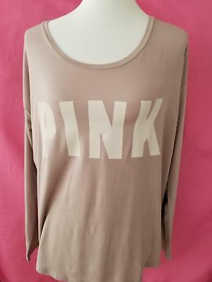 Victorias Secret Womens Pink Graphic Logo Brown Slouchy Tee Small Long Sleeve