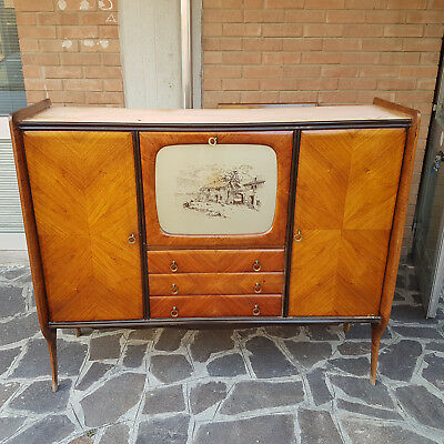Vintage Cabinet Bar Sideboard In Rosewood Italian Production 1950-1960
