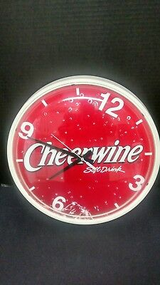 """CHEERWINE Soft Drink Vintage Style 14"""" Wall Clock Battery Operated TESTED"""
