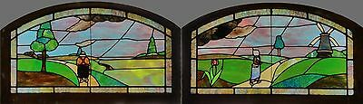 Pair Antique American Stained Glass Scenic Windows from Cincinnati, circa 1900