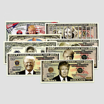 Set of 8 diff. USA fantasy paper money Donald Trump