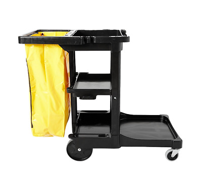 Commercial Janitor Housekeeping 3-Shelf Cart with Zippered Yellow Vinyl Bag NEW