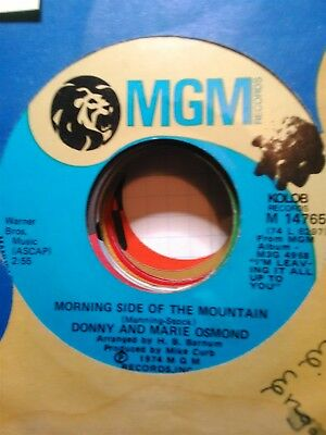 Donny & Marie Osmond, Morning Side of the Mountain ~ 1974 MGM 45 +sleeve