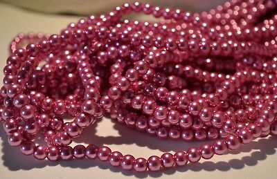 Pink Round Glass Pearl Beads 4mm 6mm 8mm10mm Premium Quality Weddings Crafts