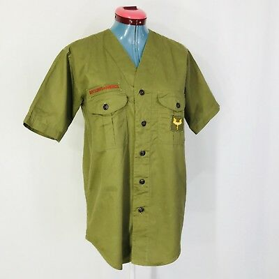 Vintage Boy Scout Uniform Shirt 1950s Sanforized Collarless V Neck Medium