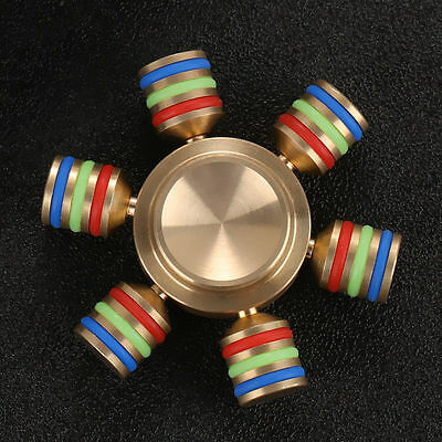 6 Side Fidget Hand Spinner Finger Brass Toy EDC Focus ADHD Autism Stress Relief