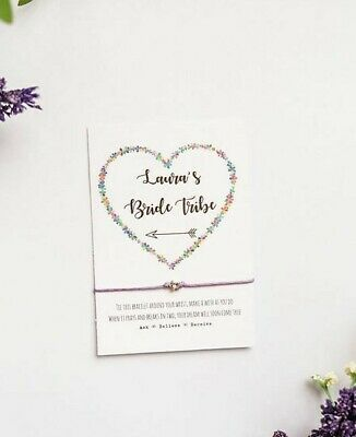 Floral Bride Tribe Wish Bracelet, Personalised Hen Bachelorette Party Star Card