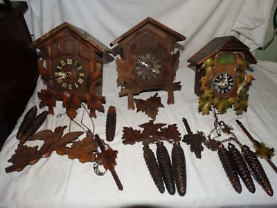 3 Vintage Black Forest Cuckoo Clock - August Schwer - West Germany,collectable.