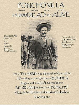 Pancho Villa~Wanted Poster Mexico Revolution Outlaw Western Old West Army War