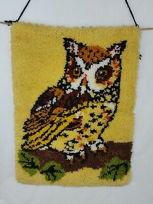 VINTAGE RETRO FINISHED Latch Hook Rug Owl Wall Hanging Decor Art ...